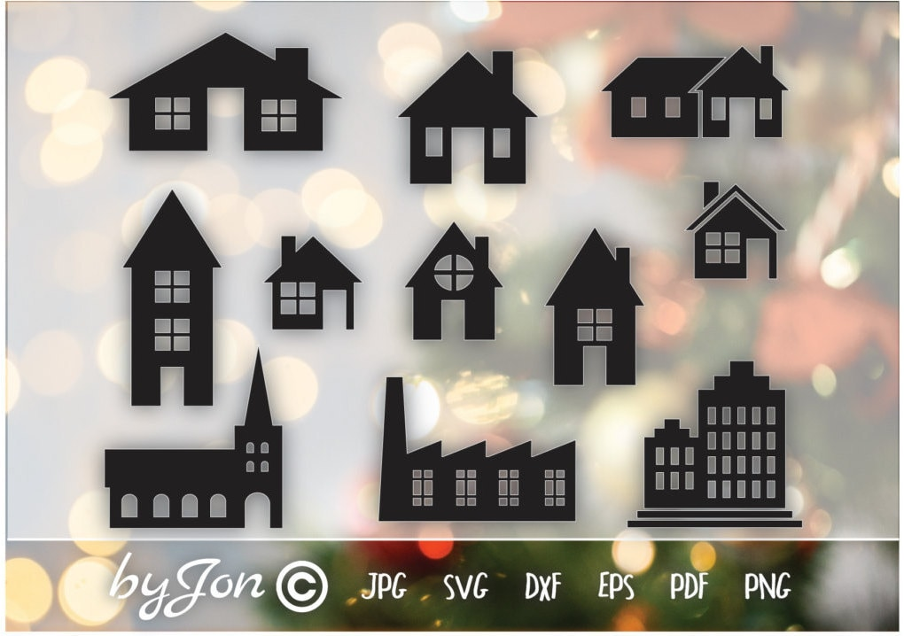 Christmas Winter Houses Svg Vector Clipart For Cards And Etsy