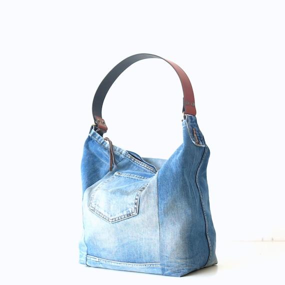 most reliable big discount of 2019 uk store denim bag with leather strap, Tote bag, Bags & Purses, handbag, Purse,  Canvas bag Recycled denim,Shoulder bag