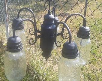 5 Mason Jar light chandler