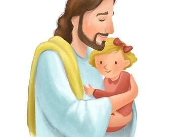 Christ holding little girl, blond, nursery decoration, baby shower gift, it's a girl, Christian art, LDS art, Jesus painting, home decor