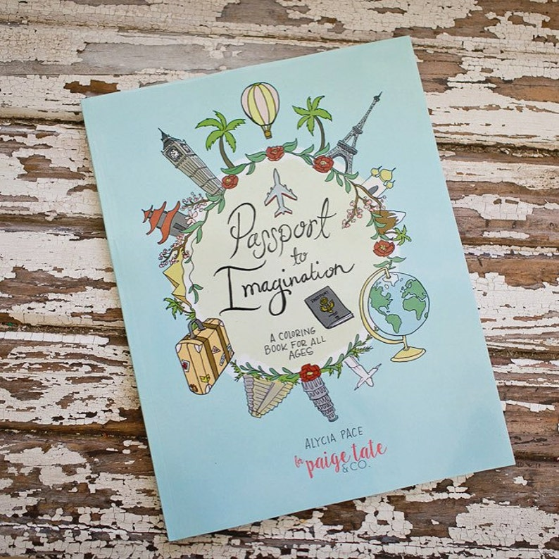 Travel Theme Coloring Pport To Imagination Colouring Sketch Craft Diy Draw Art Page Gift Idea