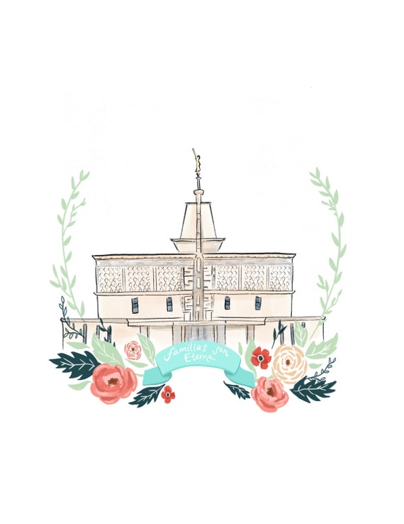 Mexico City Temple LDS art print relief society handout   Etsy