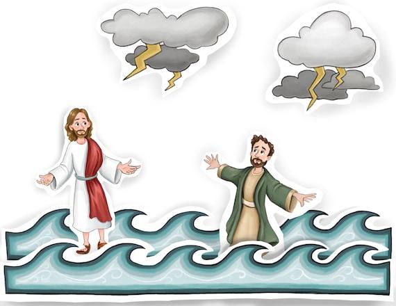 Jesus Christ walking on water fishermen calm raging sea | Etsy