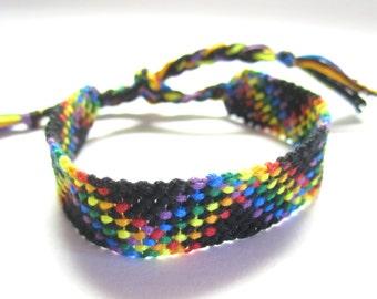 Rainbow and Black Striped Plaid Friendship Bracelet