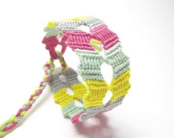 Bright Mirrored Zigzag Rainbow Friendship Bracelet