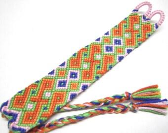 Orange Celtic Twist Macrame Friendship Bracelet Cuff