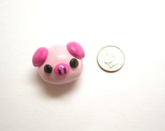 Cute Kawaii Pig Magnet, Pudgy Piggy, Pink Pig Magnet, Polymer Clay Charm