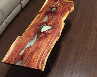 Live Edge Coffee Table Natural Wood Slabindustrial Tablerustic Epoxy Cedar Glow In Dark