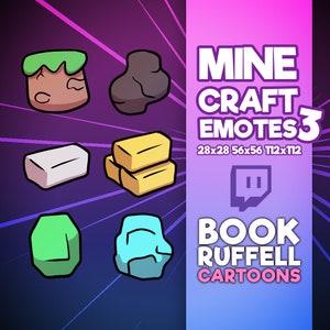 6x Minecraft Emoji Emotes PACK 2 for Twitch Cute Minecraft Emoji Emotes Twitch Emotes Discord Youtube Twitch Emotes