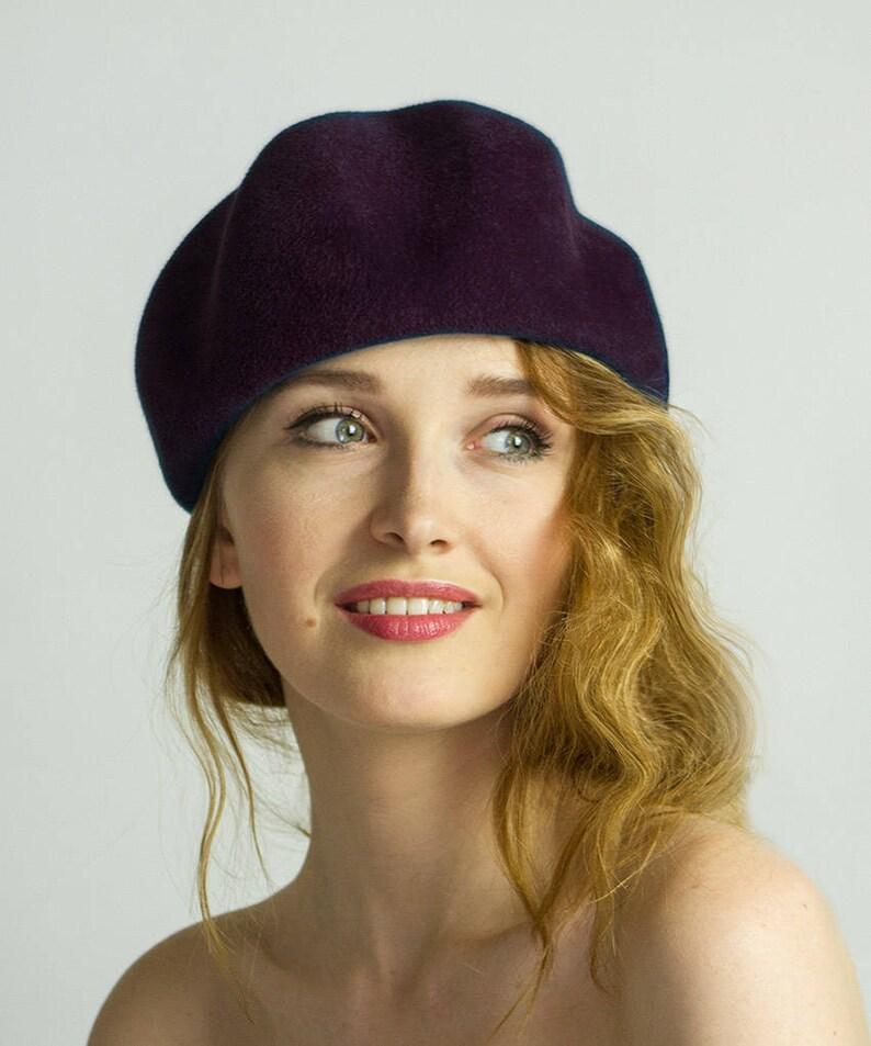 Viola scuro feltro cappello berretto di melanzana cappello  1c6e827df2a5