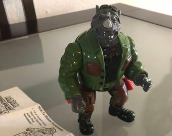 1992 TMNT Mutatin' Rocksteady Playmates Mutation Action Ninja Teenage Mutant Ninja Turtles Action Figure Complete!