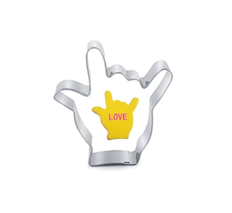 Love Hand Cookie Cutter  Stainless Steel Sign Language I Love You Shape  Hand Sign Gesture Valentines Day Fondant Cake Baking Dough Press