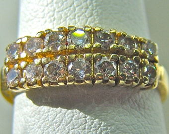 14kt Yellow Gold Double Sparkling Double High Quality Genuine Diamond Ring Size 6.5