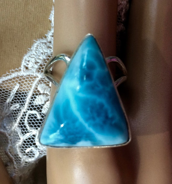 Set in Silver Beautiful Blue Larimar from Dominican Rep