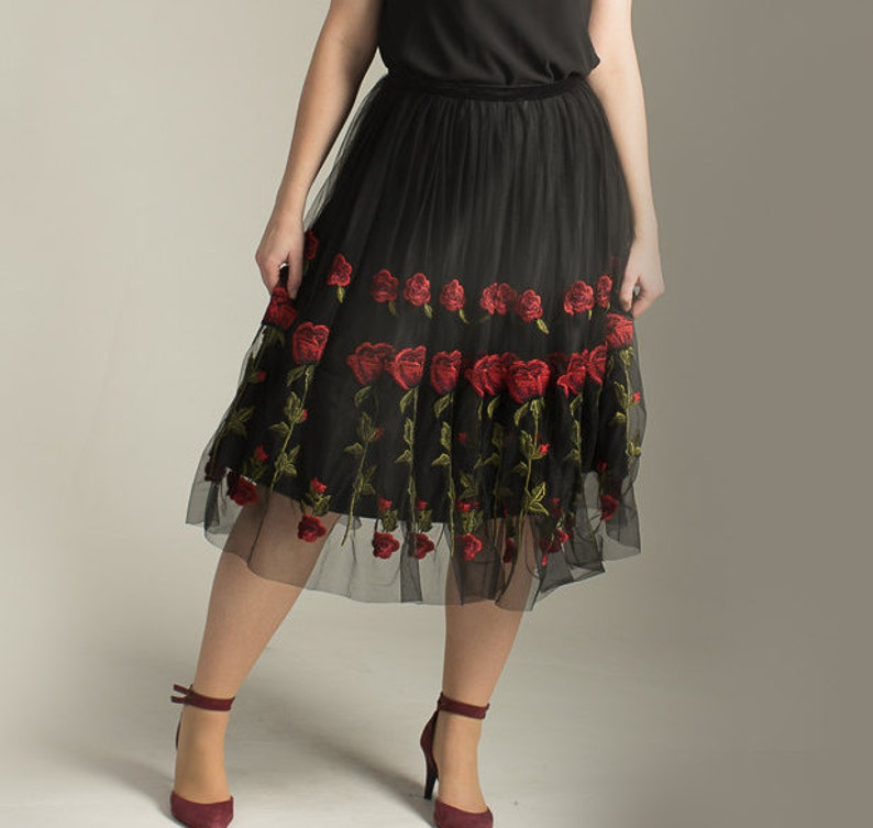 Rose embroidered skirt special occasion SALE Rose tulle skirt size 10 black satin tulle skirt tulle red rose skirt