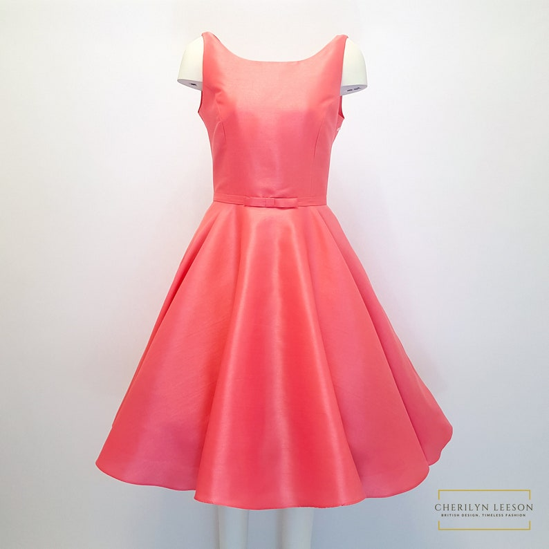 short coral bridesmaid dress