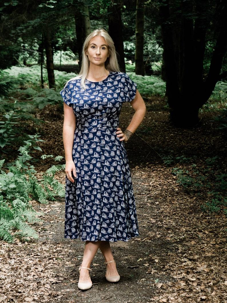Vintage Style Dresses | Vintage Inspired Dresses 1940s vintage inspired teadress navy sailing ships. Made to order in size. $115.89 AT vintagedancer.com