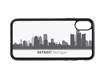 Detroit Michigan Skyline Personalized Phone Case - iPhone X 8 7 6 Plus, 5 5c SE, Galaxy S8 S8 Plus S7 S6 Edge S5, rubber cover, MI