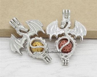 5pcs Flying Dragon Locket Dull Silver Bead Pearl Cage Pendant Aromatherapy Perfume Diffuser Locket Charms-AL007