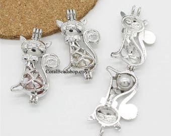 5pcs Cute Cat Locket Double sided Dull Silver Rock Lava Bead Pearl Cage Pendant Aromatherapy Perfume Diffuser Locket Charms-AL138