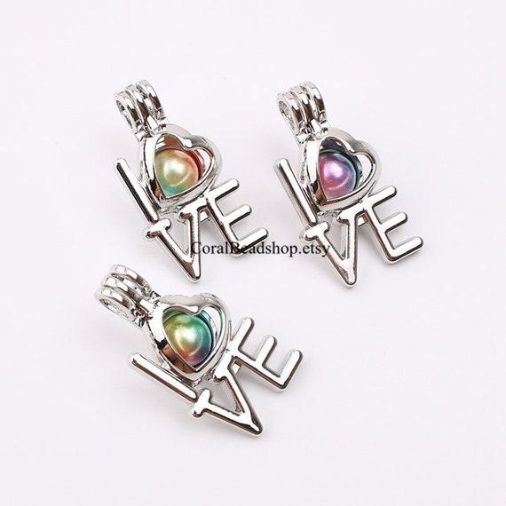 K108 5pcs//lot Silver Beauty Flower Heart Locket Pendant Pearl Oysters Cage