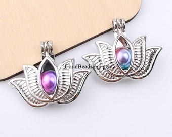 5pcs Large Lotus Flower Oyster Pearl Cage Pendant Dull Silver Plated Bead Cage Locket Aromatherapy Perfume Diffuser Locket Charms