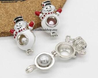 5pcs Enamel Christmas Snowman Hollow Locket Dull Silver Lava Bead Pearl Cage Pendant Aromatherapy Perfume Diffuser Locket Charms-AL121