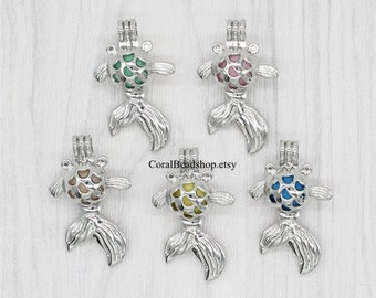 5pcs Cute Little Goldfish Cage Lockets Dull Silver Lava Bead Pearl Cage Pendant Aromatherapy Perfume Diffuser Locket Charms-AL189