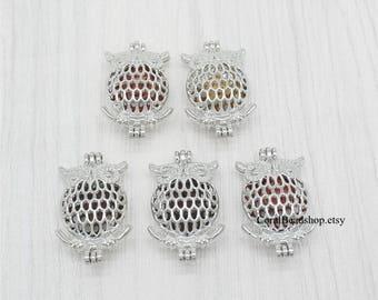 5pcs Animal Bird Owl Locket Dull Silver Bead Pearl Cage Locket Pendant Essential Oil Aromatherapy Perfume Diffuser Locket Charms-AL013
