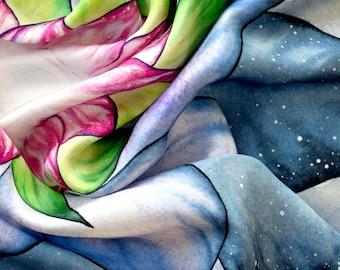 100% Silk Tarot Cloth - Glowing Lotus - Altar Cloth, Tarot Cloth, Silk Tarot Cloth, Tarot Cards Cloth, Tarot Deck Cloth, Silk Altar Cloth