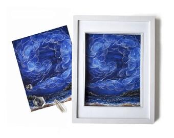 "Art Print ""Shooting Stars"" - 8x10, Stars Print, Night Sky Poster, Universe Print, Painting, Print, Wall Art, Ocean Art, Inspirational Poster"