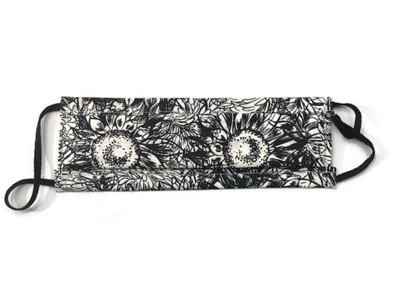 Black and White Sunflower Mask
