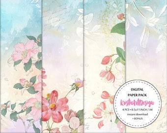 75% OFF SALE - Pastel Flowers - NP001, Digital paper pack, Vintage Paper Floral Paper, Beautiful printable paper pack, Scrapbook Paper