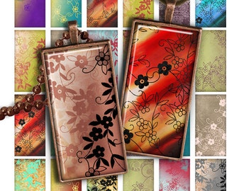 75% OFF SALE Mini Flowers Digital collage sheet PR014 printable download 1x2 inch image rectangle glass pendant resin 1x2 domino image