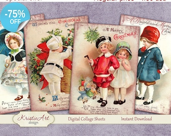 75% OFF SALE Christmas - Digital Collage Sheet Digital Cards C099 Printable Download Image Tags Digital Image Atc Cards ACEO Santa Claus