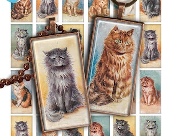 75% OFF SALE Cats Digital collage sheet PR016 printable download 1x2 inch image size rectangle glass pendant resin 1x2 domino digital image