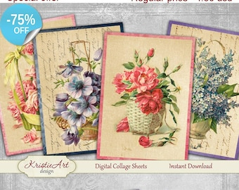 75% OFF SALE Baskets of flowers - Digital Collage Sheet Digital Cards C097 Printable Download Image Tags Digital Atc Cards Flowers ACEO