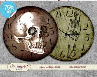 75% OFF SALE Vintage Halloween - Digital Collage Sheet - Digital cards C183 printable download Halloween tags digital round image atc card
