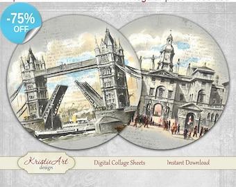 75% OFF SALE London - Digital Collage Sheet - Digital cards C182 printable download tags digital London round image Travel atc card Vintage