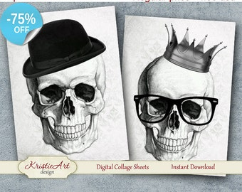 75% OFF SALE Fashion Skull - Digital Collage Sheet Digital Cards C192 Printable Download Image Tags Digital Image Atc Halloween Cards ACEO