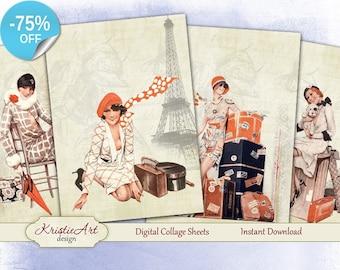 75% OFF SALE My Journey - Digital Collage Sheet Digital Cards C126 Printable Download Image Tags Digital Image Atc Paris Cards Journey ACEO