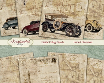 Printable Download Digital Collage Sheet Gift Tags Retro Greeting Card Vintage image paper atc cards scrapbook 75/% OFF SALE Retro Cars