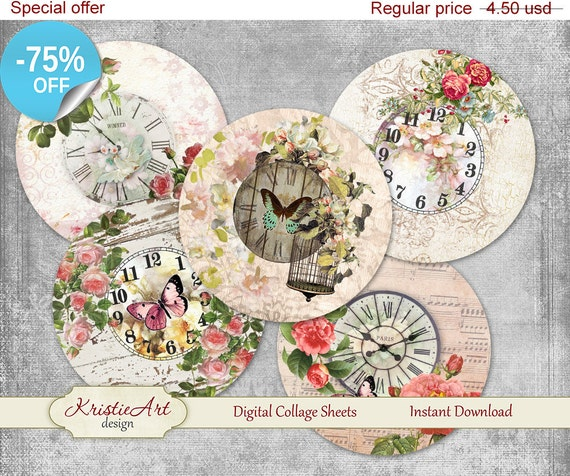 75 off sale digital collage sheet clock in flowers 2 etsy
