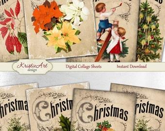 75% OFF SALE Happy Christmas - Digital Collage Sheet Digital Cards C109 Printable Download Image Tags Digital Atc ACEO Christmas Tree