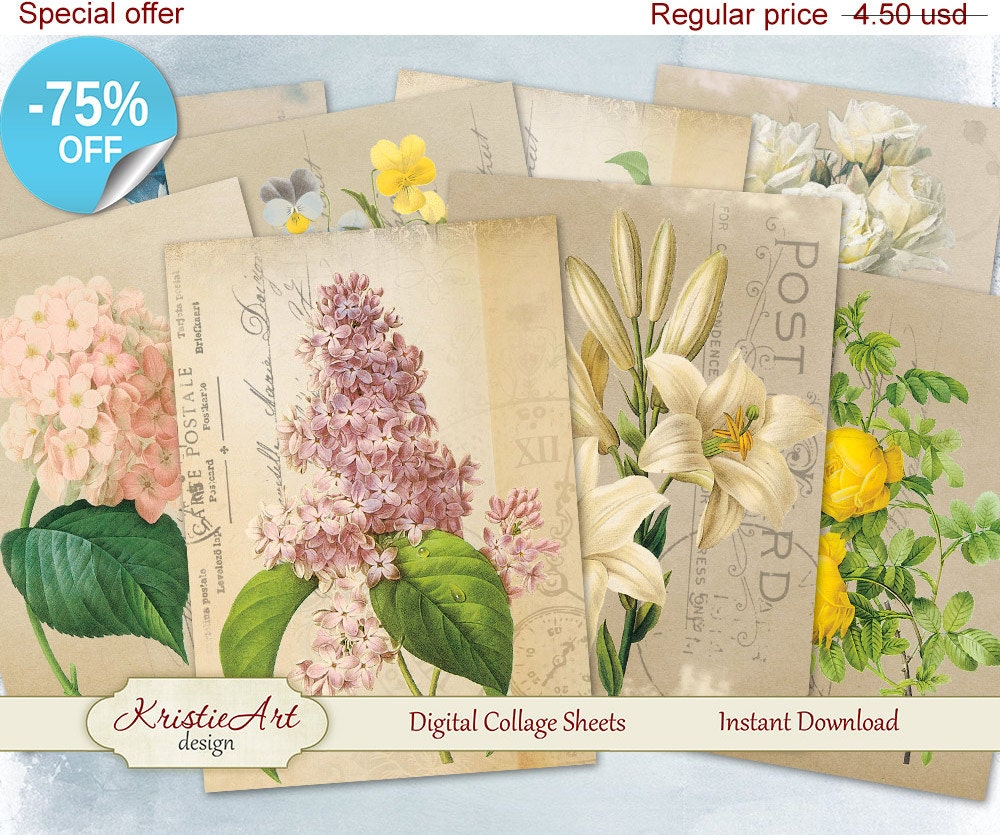 75 Off Sale Beautiful Flowers Atc Cards Digital Collage Etsy