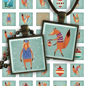 Square Pendant Image PS024 digital printable square 1 inch Christmas image 25mm pendants glass charms resin magnet 75/% OFF SALE Winter Fox