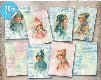 75% OFF SALE Winter Fashion - Digital Collage Sheet Digital Cards C186 Printable Download Image Tags Digital Atc Card ACEO Christmas Cards