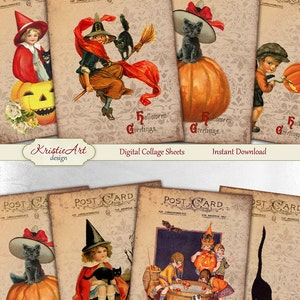 Sheet no. O134 Digital Collage Sheet Domino Halloween Postcard  Images 1X2 Instant Download