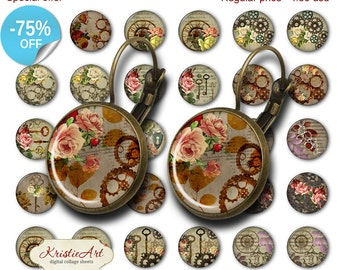 75% OFF SALE Steampunk Flowers - 18mm, 16mm, 14mm, 12mm, 10mm Circles Digital Collage Sheets E-022 Printable Retro Earring, Rings, Jewelry