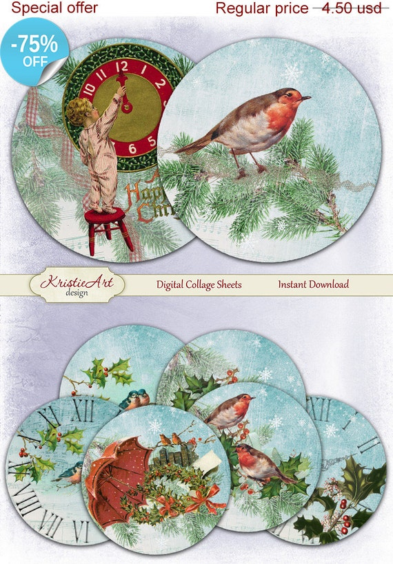 Digital Collage Sheet Digital Cards C199 Printable Download Image Digital Atc Card ACEO Child Christmas cards 75/% OFF SALE Happy New Year